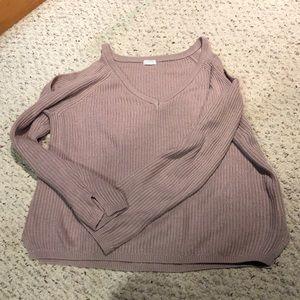 Pink cold shoulder sweater